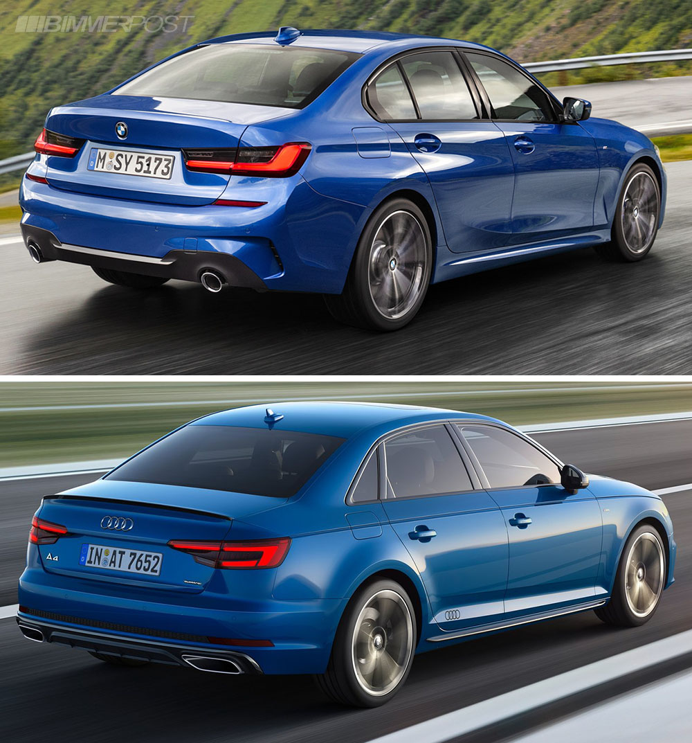 Photo Comparison G20 Bmw 3 Series Vs Facelifted Audi A4: Visual Comparison: G20 3 Series Vs A4 S Line